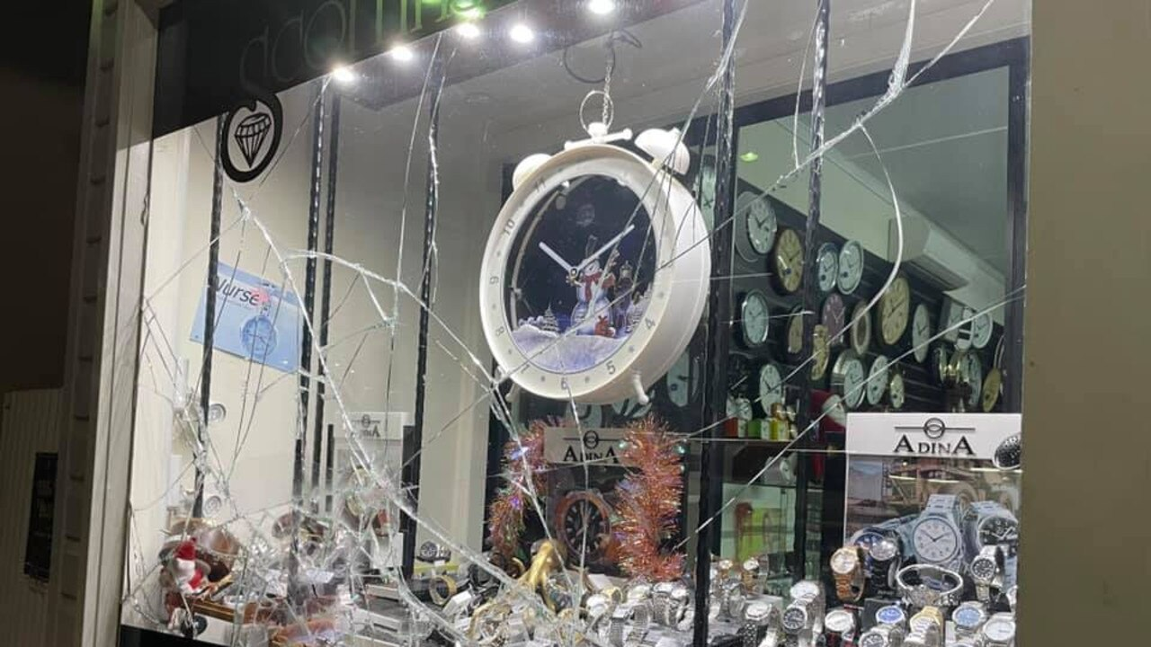 MORE DAMAGE: One day after a crime spree smashed Yeppoon's businesses, Scoffins Jewellers reported damage to their store front.
