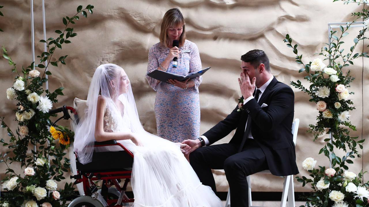 Gold Coast Girls in Business Facebook page pulled a wedding together for the late Gold Coast melanoma campaigner Ashleigh Simrajh and fiance Jason Hale in just two weeks. Photograph: Jason O'Brien