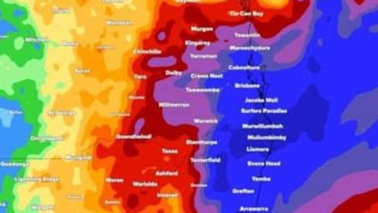 Southeast Queensland is set to be smashed within the next 24 hours with a torrential downpour and eight-metre waves.