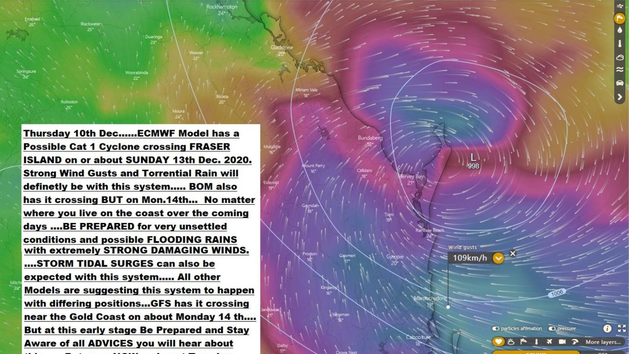 Category 1 Cyclone model with description posted on 'Bill's Place' which has been dismissed by BoM who say Gympie will still receive heavy rainfall. Picture: 'Bill's Place'