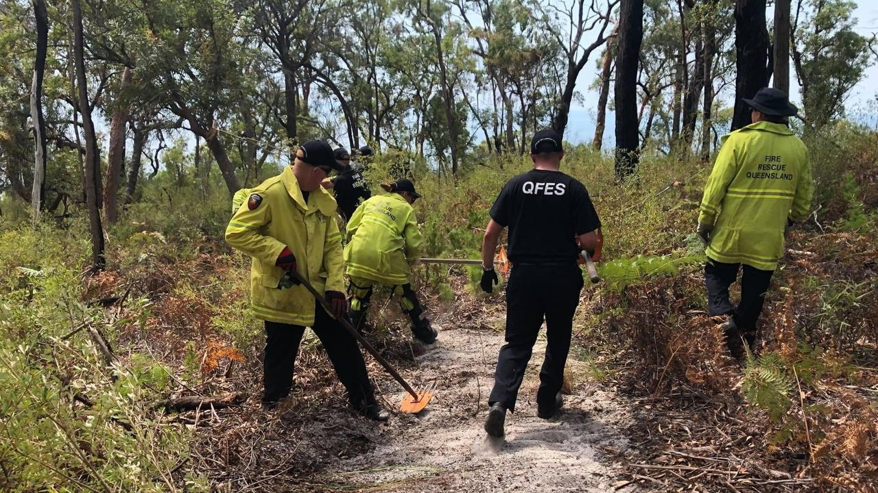 Fire crews have been working alongside the Butchulla people to fight the blaze on Fraser Island.
