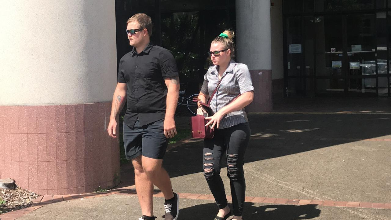 Cat killer and stalker Kodie Love (left) leaves Cairns court.