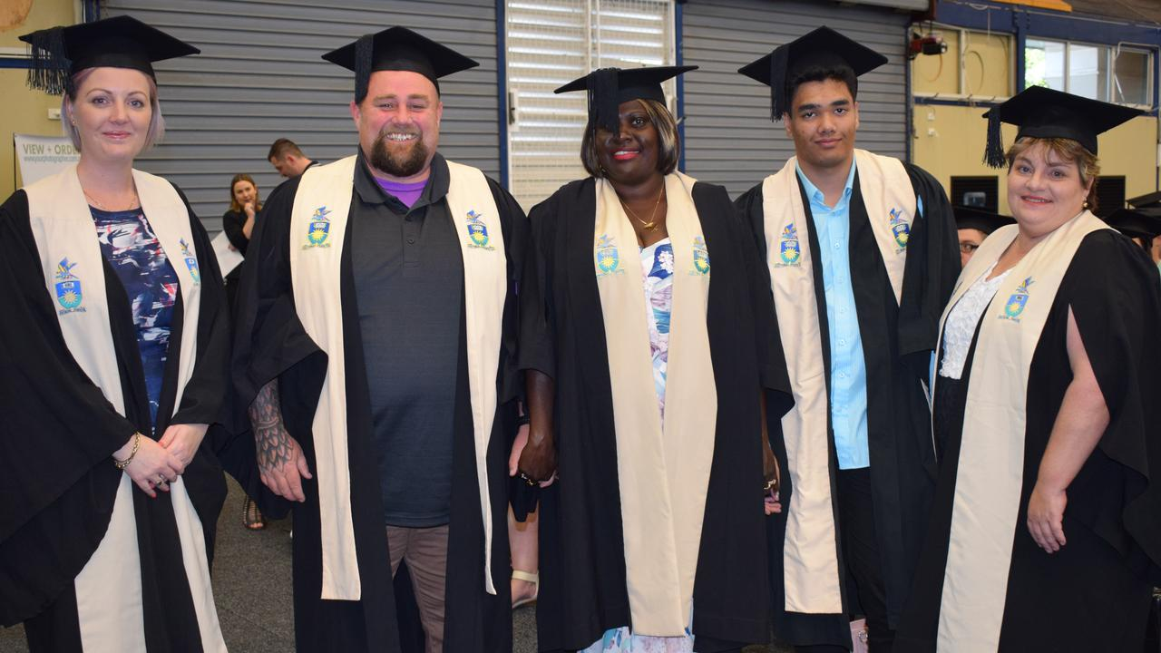 Nyree Johnson, Nathan OConnor, Pamela Giersing, Sharon Nand and Kathryn Baxter at CQUniversity's graduation ceremony in 2019.