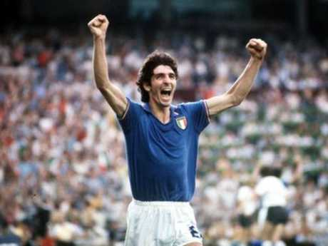 Italy's Paolo Rossi celebrates after scoring the opening goal in the 1982 World Cup Final.