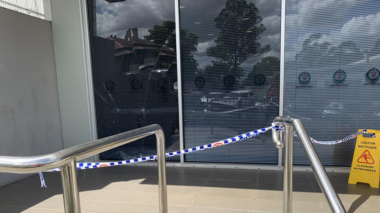 A man has been charged after he allegedly pushed a shopping trolley into a glass panel at Lismore Police Station, smashing the window and then threatening staff, at the weekend. Picture: Liana Boss