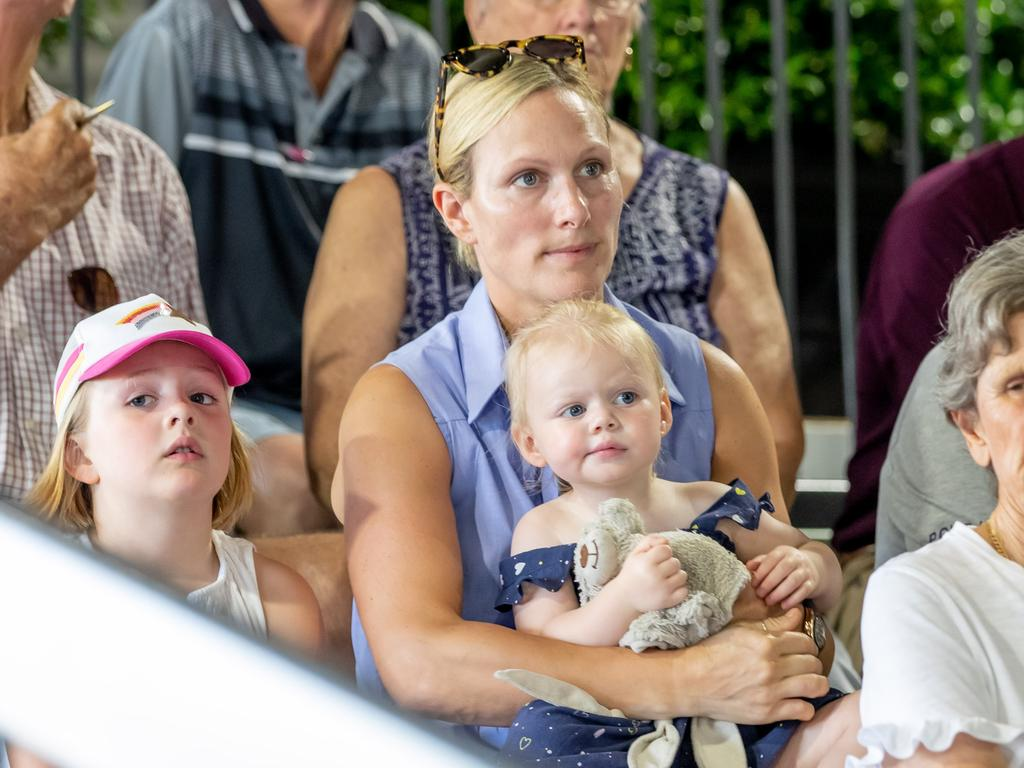 Zara Tindall with daughters Mia (left) and Lena. Picture: Luke Marsden