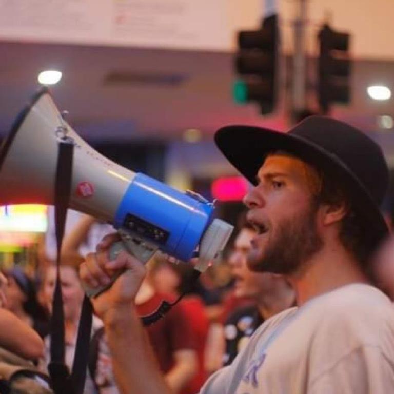 Jarrah Kershaw at Extinction Rebellion protests in Brisbane.