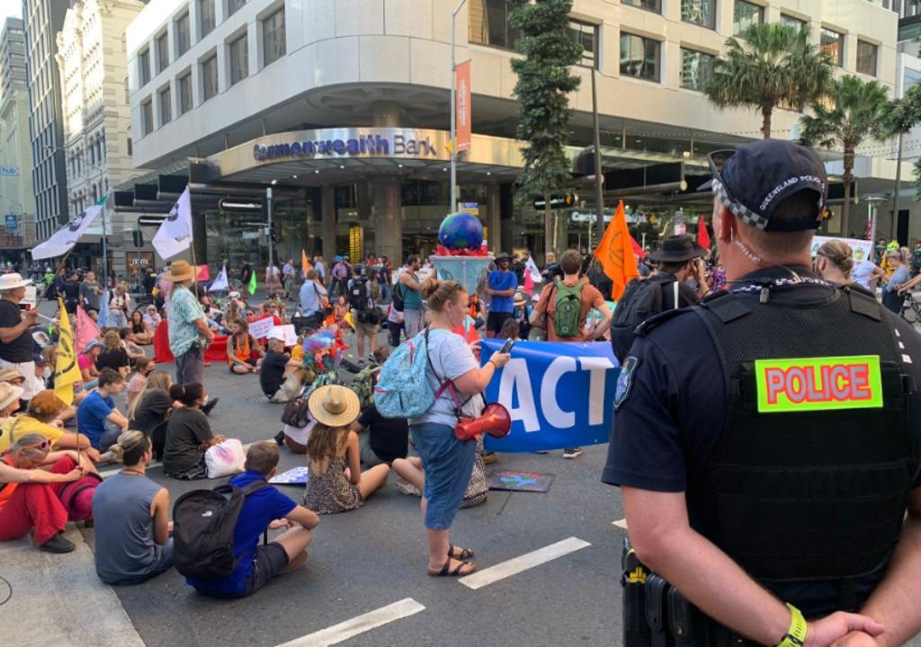 Protesters gathered on Queen St to disrupt traffic. Picture: 10 News First Queensland