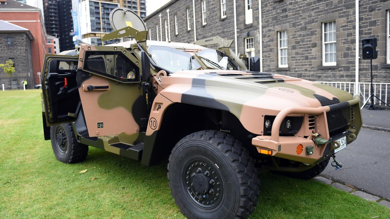 A Hawkei vehicle built in Bendigo by Thales Australia is seen at Victoria Barracks Melbourne. Picture: AAP Image/Julian Smith