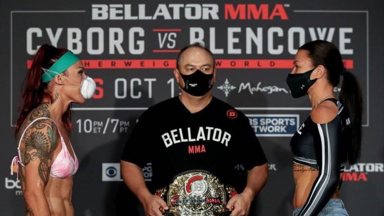 Cris Cyborg and Arlene Blencowe face off, with Bellator president Scott Coker in the middle.
