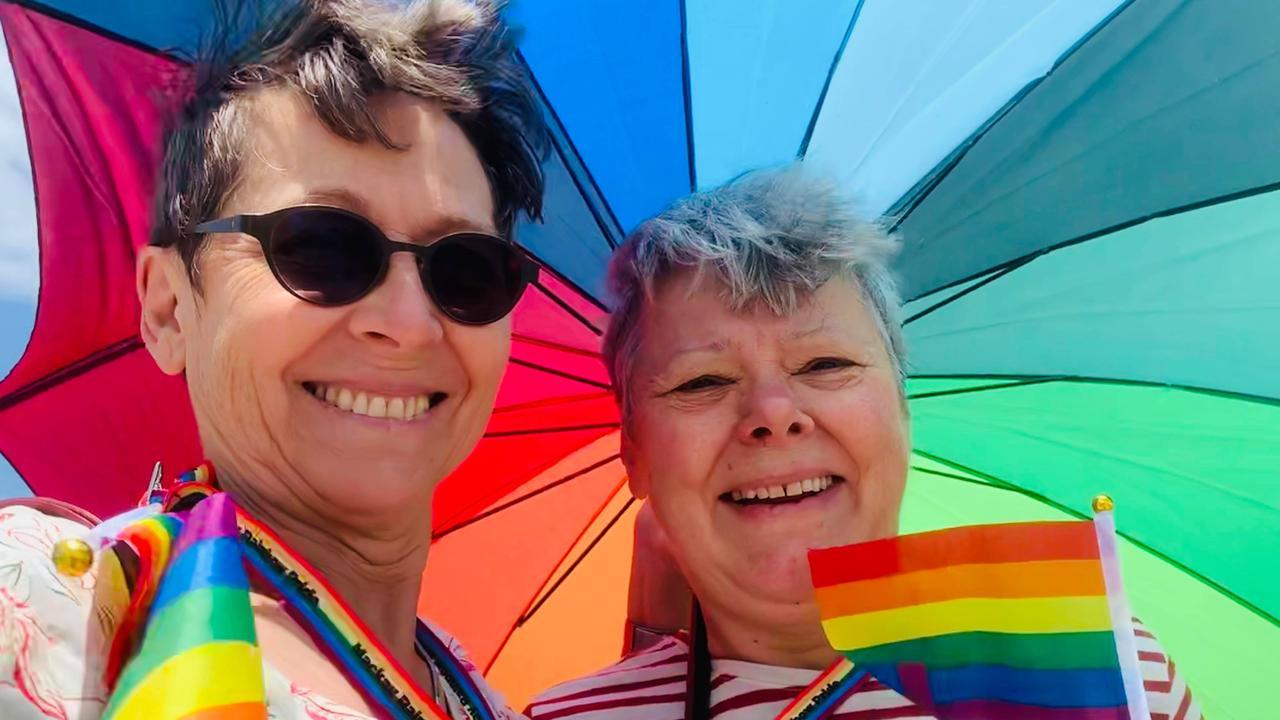 Eva Mackellar and Susie Ramseier at Mackay's first ever Pride March. Picture: Heidi Petith