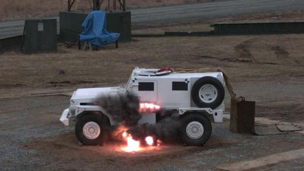 Protected Transport Systems prototype undergoing blast testing in 2010. Picture: SUPPLIED