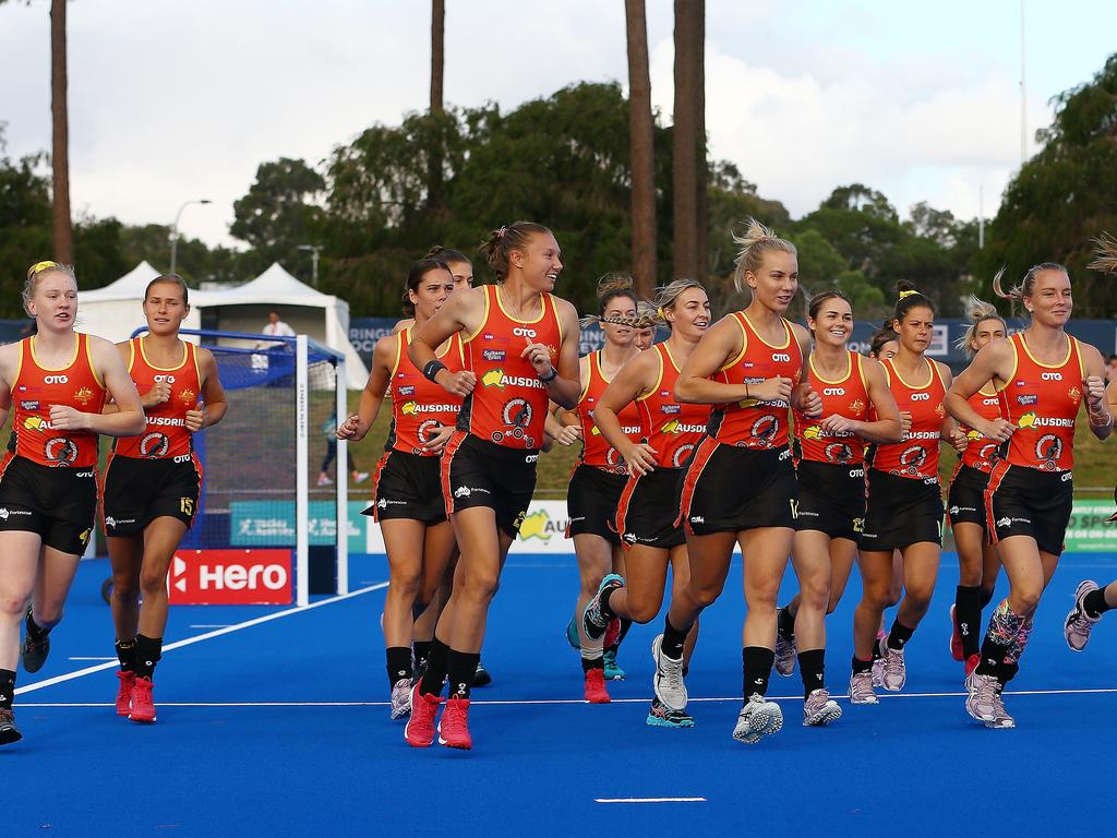 The Hockeyroos players warm-up before the Women's FIH Pro League in Perth.