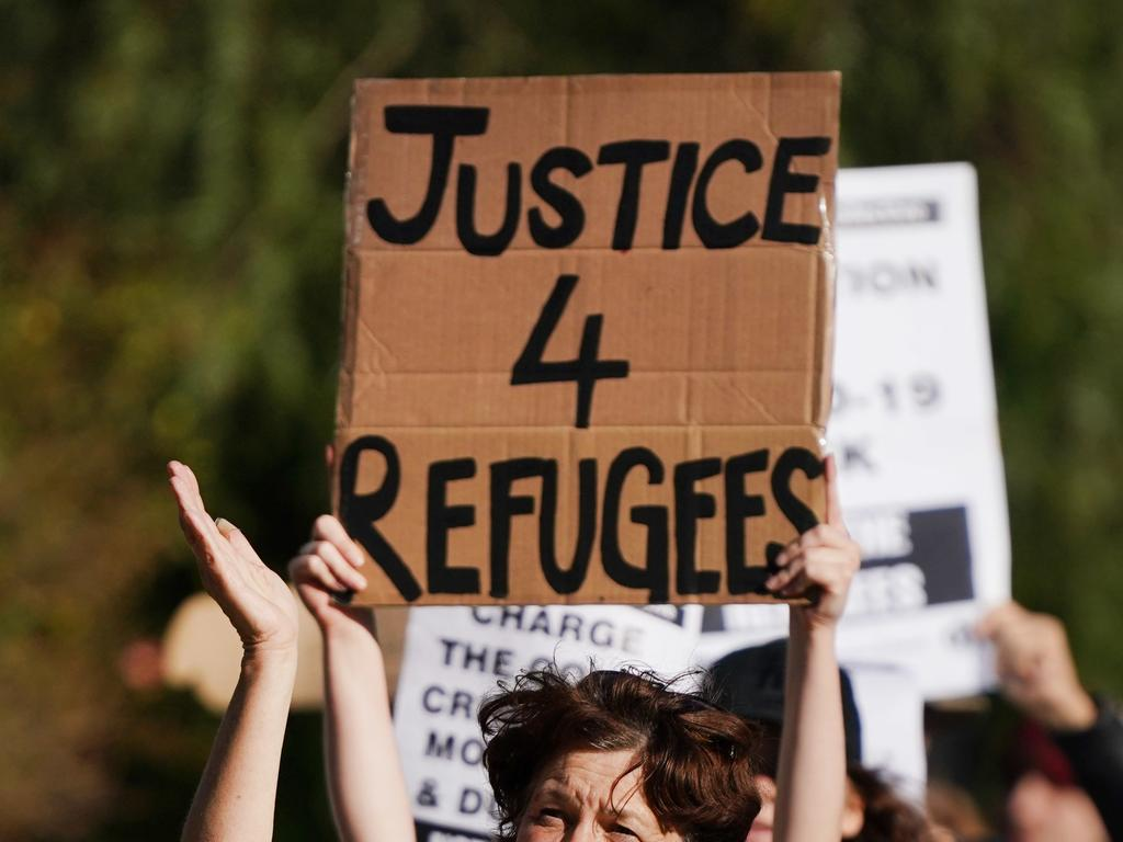 Supporters of asylum seekers protest outside the Mantra Hotel in Preston. Picture: Michael Dodge/AAP