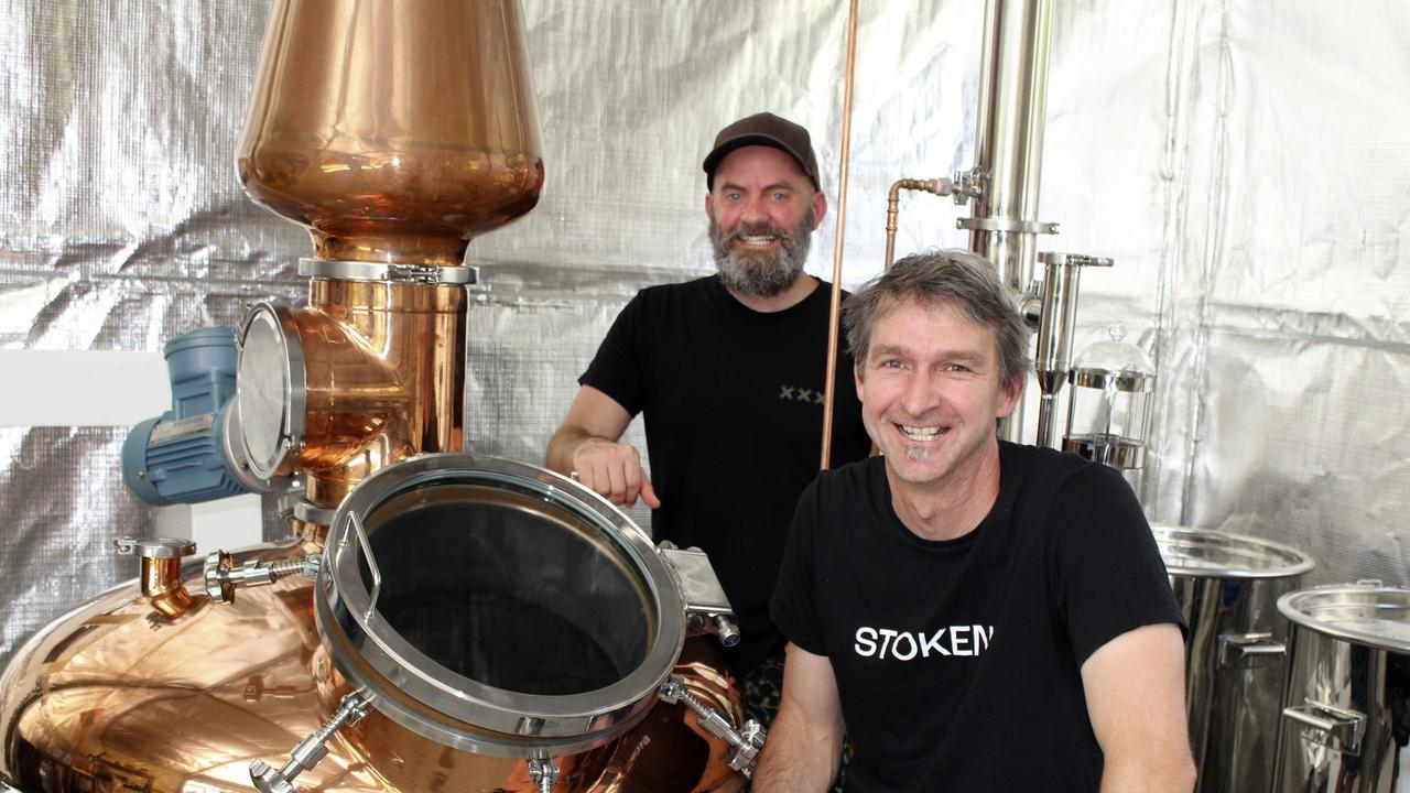 Stoken creators Brett Curtis and Dr John Meulet at their Cudgera Creek distillery where they handcraft Stoken gin.