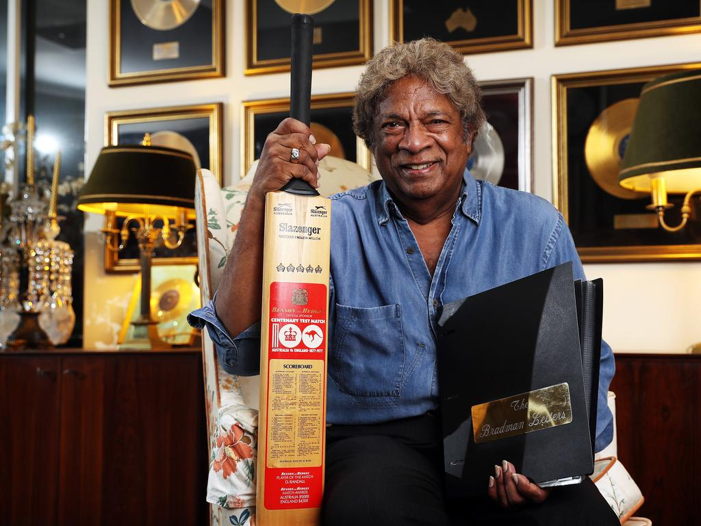 Kamahl and his Don Bradman treasures. Picture: Tim Hunter.