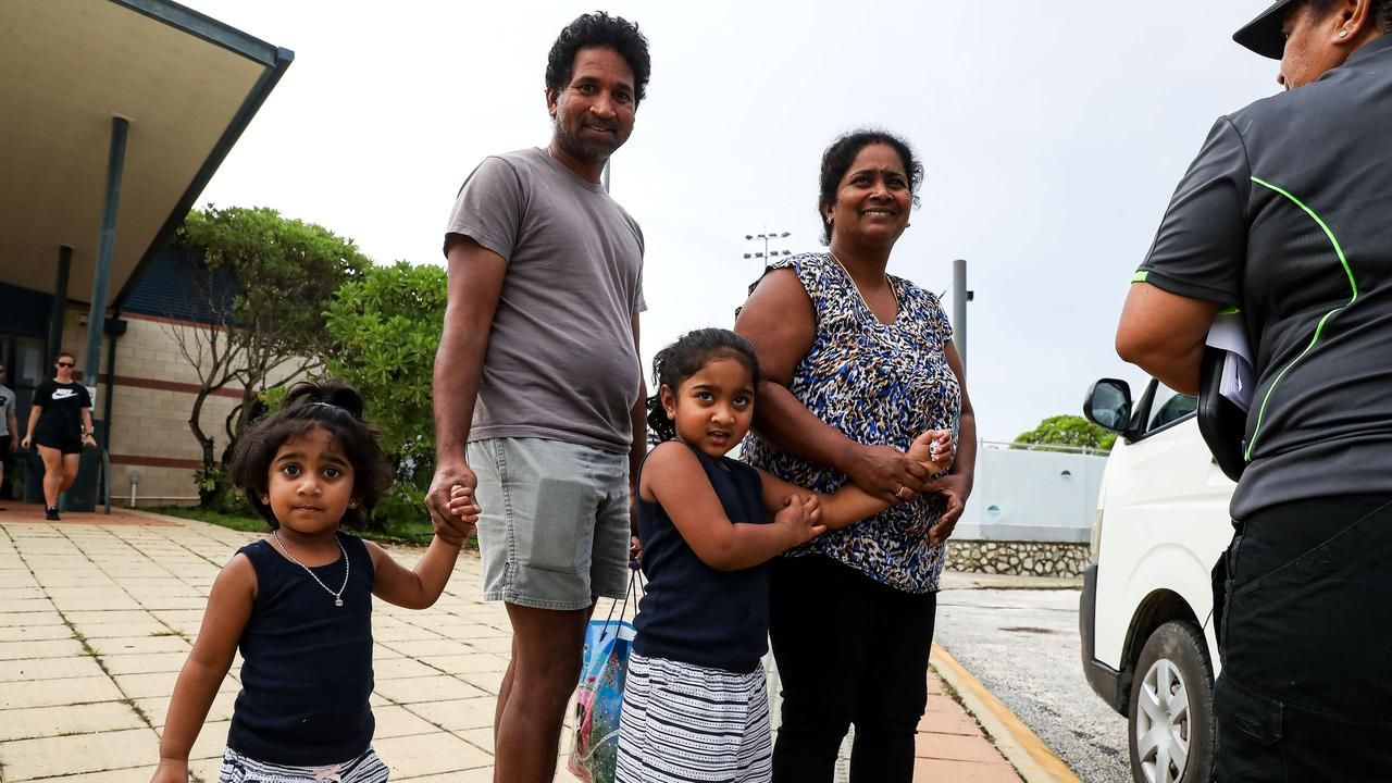 Nadesalingam Murugappan, known as Nades, his wife Kokilapathmapriy Nadarasa, known as Priya, and their daughters Kopika, 5 and Tharunicaa, 3 leave the recreation centre on Christmas Island. They have been held in detention for more than 1000 days now. Pic Colin Murty The Australian