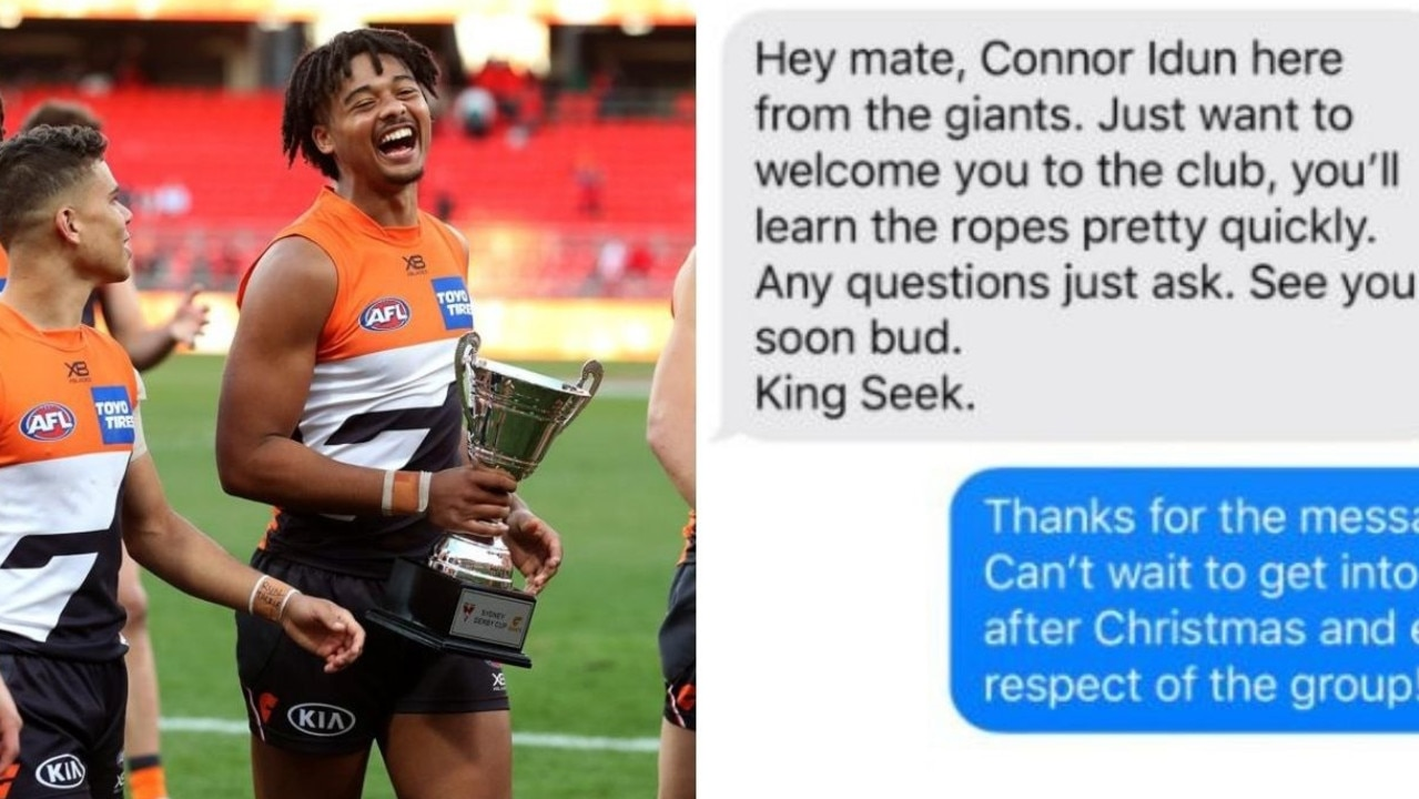 A text message sent by 20-year-old AFL star Connor Idun to a teammate 11 years older than him shows how cocky young guns are.