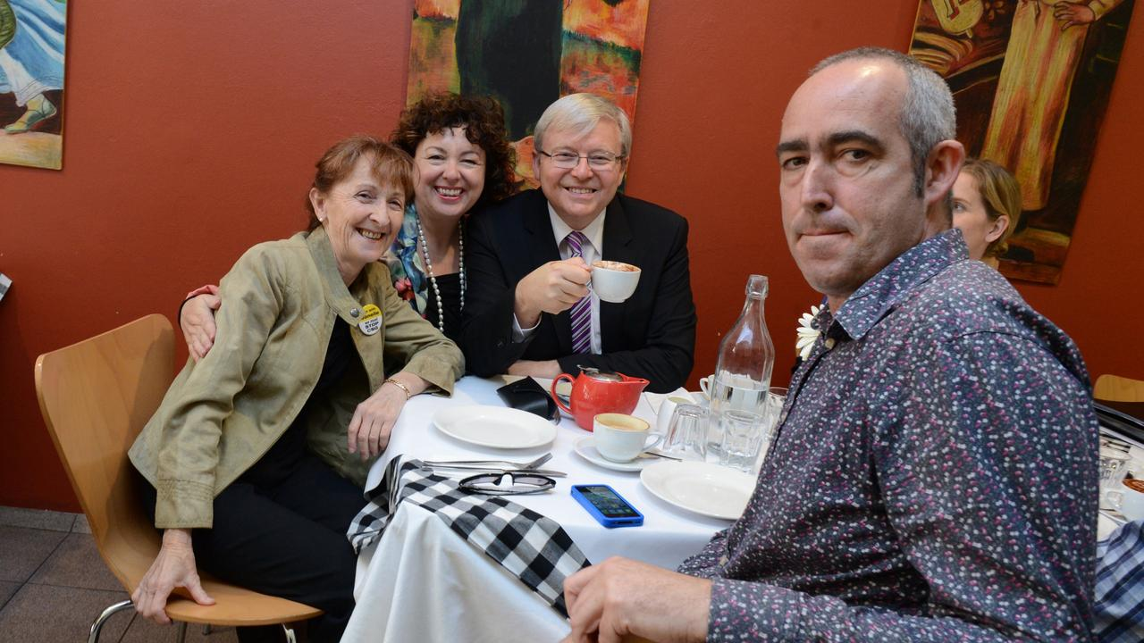 The Northern Star editor has coffee with then Member for Page Janelle Saffin, Prime Minister Kevin Rudd and his wife Therese Rein Cafe Capello. Photo Cathy Adams / The Northern Star