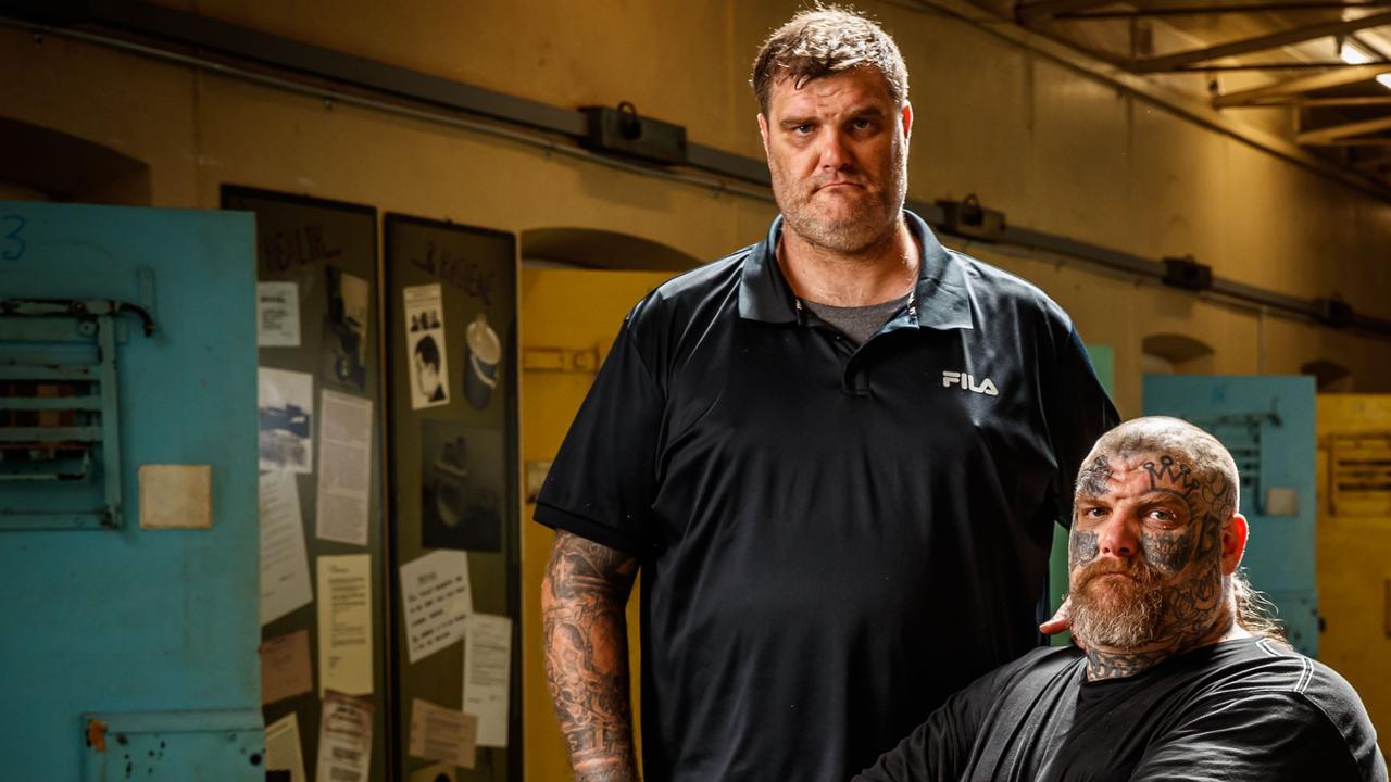 Former Finks MC members Matt and Tyson Ward at the Old Adelaide Jail. Picture Matt Turner.