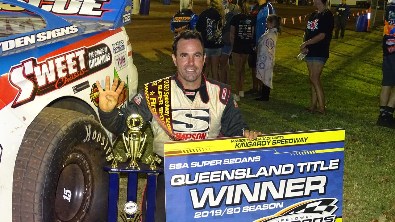 Ipswich racer Mat Pascoe celebrates his fourth Queensland title victory.