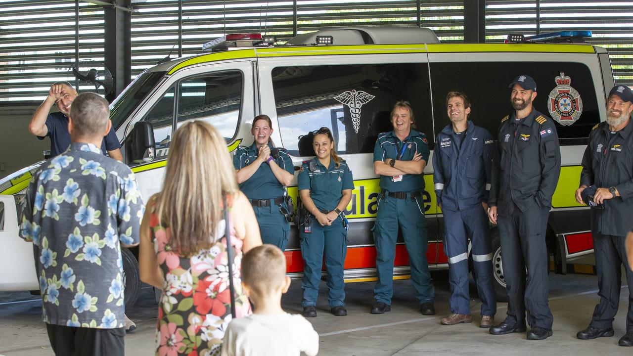Rick Bettua and wife Angela thank the emergency workers who saved his life. Picture: Lachie Millard