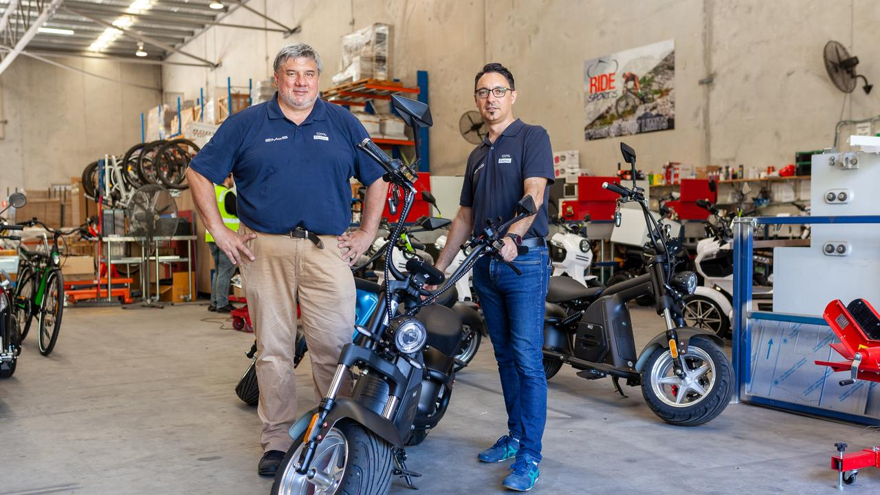 Electric Mobility Solutions founders Wolfgang Roffmann and Harry Proskefallas with the WYLD electric bike.