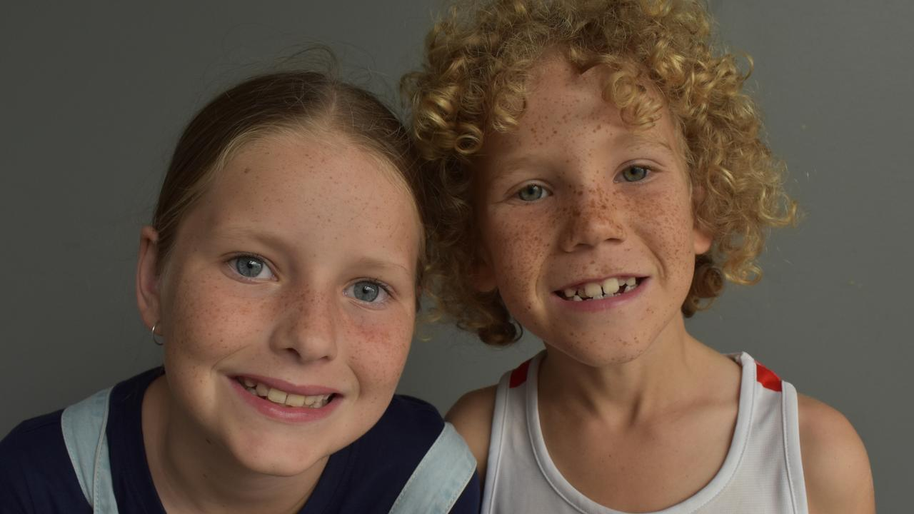 Ruby Stephens, 9, and Connor Stephens, 7, at Caneland Central, Mackay, on Thursday December 10. Picture: Zizi Averill