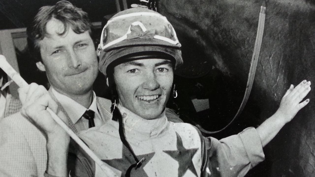 Ipswich jockey Jamie Bayliss celebrates his 1989 Ipswich Cup win aboard Dixie Kid