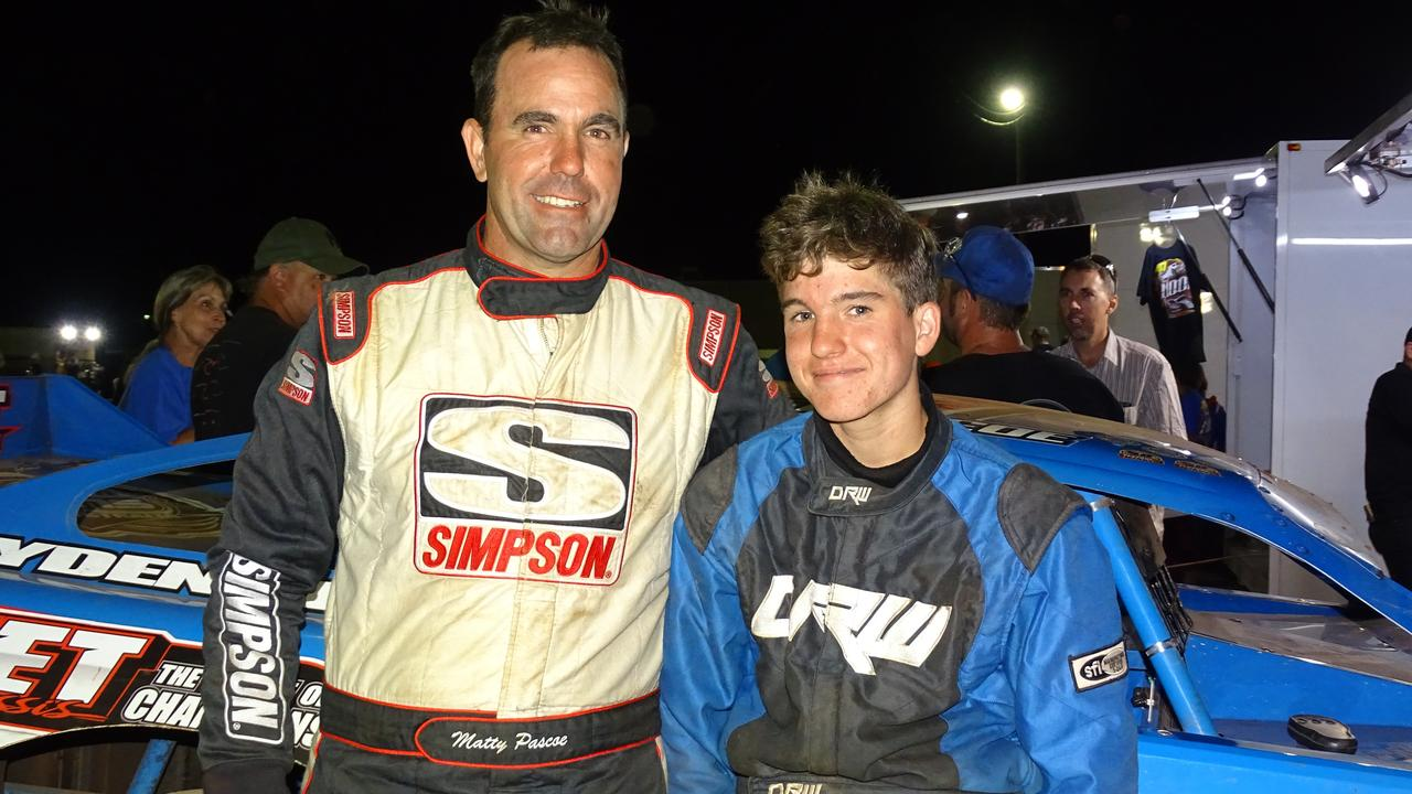 Mat and son Zac at Archerfield Speedway in 2019.