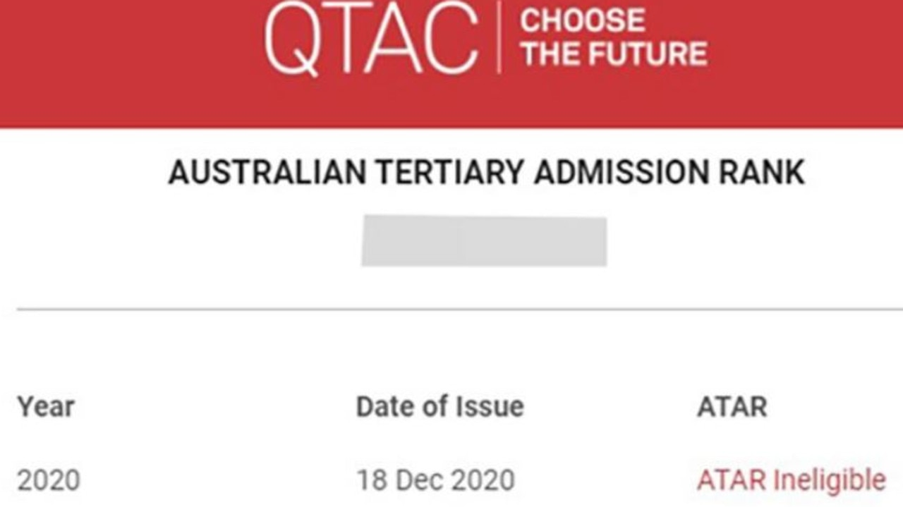 A notice sent to Year 12 students across Queensland, which QTAC says is due to a technical issue. Picture: Supplied