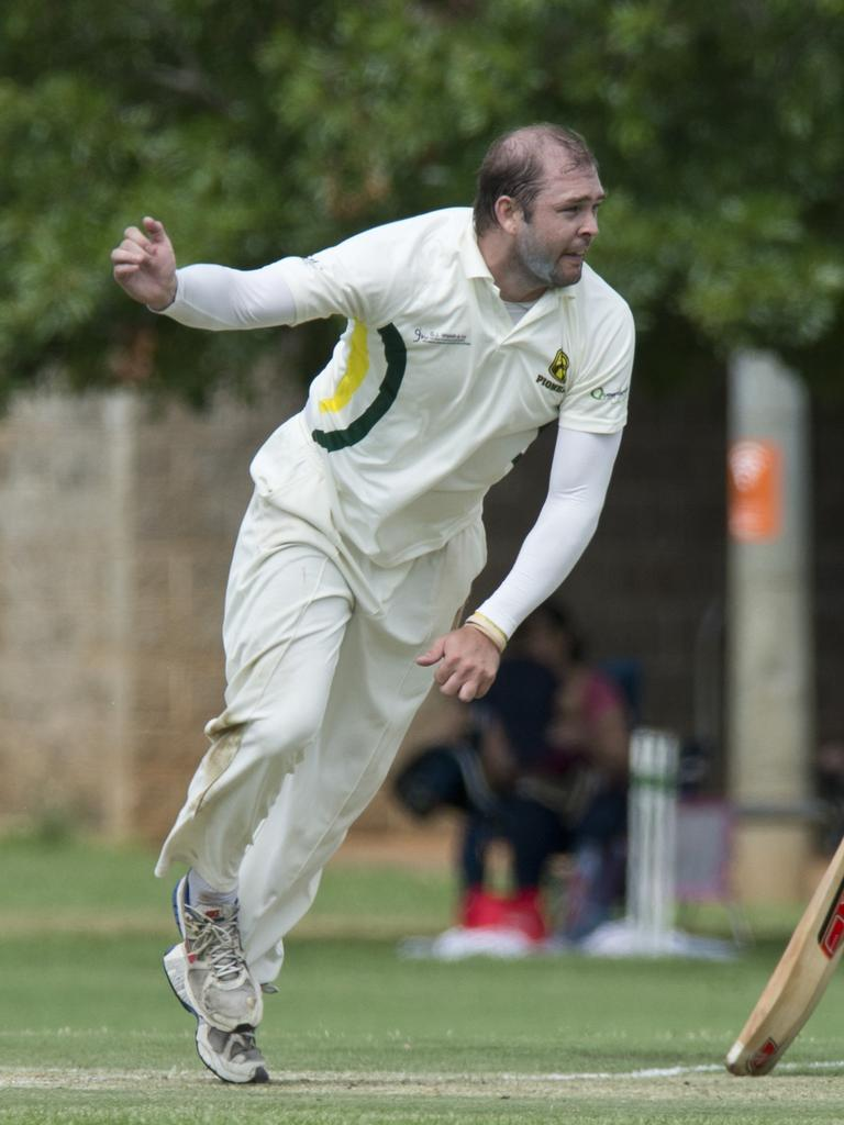 Adam O'Sullivan watches his delivery bowling for Ipswich in a Webb Shield representative match. Picture: Kevin Farmer