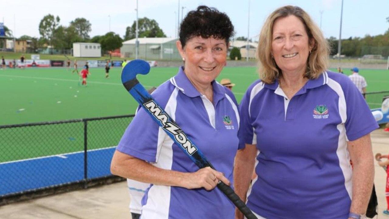 Ipswich hockey sisters Pauline Alchin (left) and Bernadette Gotting.
