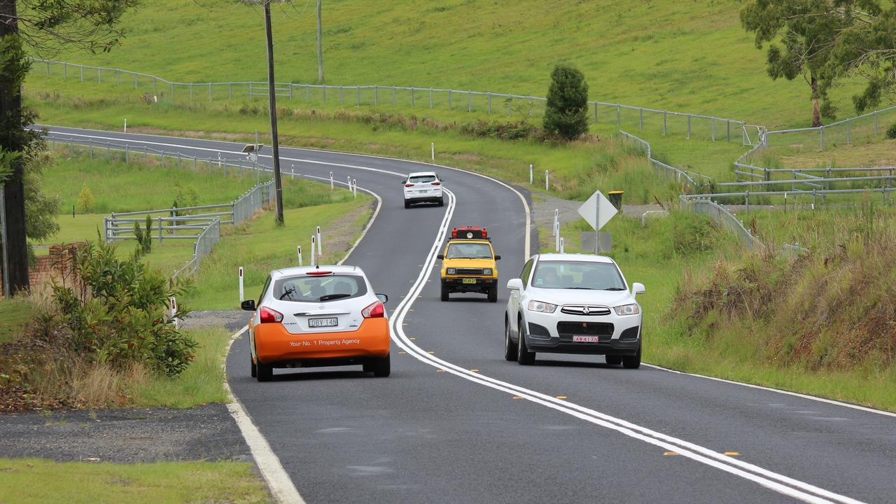 Coffs Harbour City Council recently completed line markings on this stretch of Coramba road to prevent overtaking. There have now been 7 crashes at the site since September 2019 with the latest one coming just three days after the double white lines were painted. Photo: Tim Jarrett