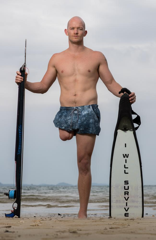 Mission Beach father Glenn Dickson, survived a savage shark attack but lost his right leg while spearfishing at Eva Rock in North Queensland in 2017. He was saved by Pete Kocica and Rick Bettua, who was himself attacked three years later. Picture: Marc McCormack