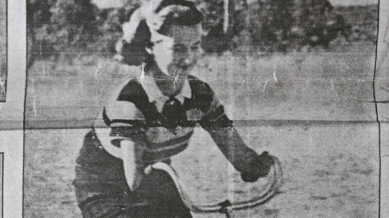 Beryl Morrin as a sixteen year old in magazine article dater 14 May 1938. Beryl was attacked by a shark back in the 1930s and had both her hands bitten off.