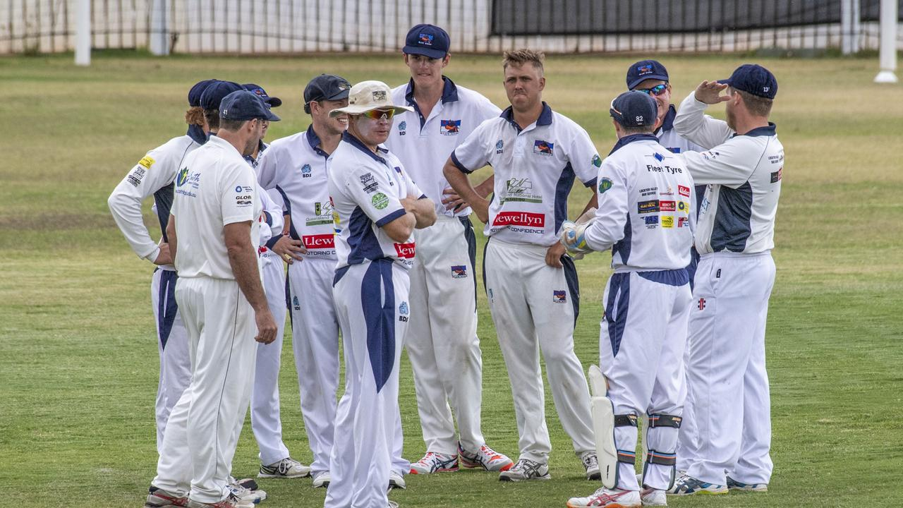 The Laidley players wait for the next batsman to arrive after dismissing Wests cricketer Luke Neale in Saturday's Harding-Madsen Shield match. That was all too late for Laidley, as Wests romped to another title. Picture: Nev Madsen