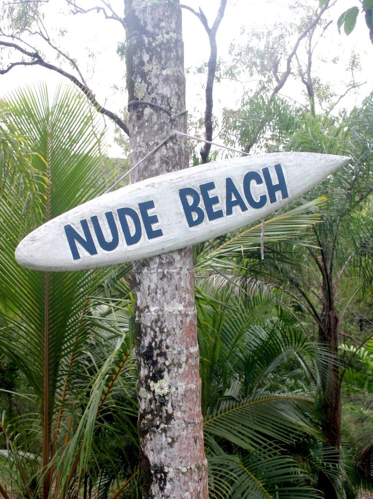 A sign from Taylorwood Tourist Park in the Whitsundays, when it was formerly a nudist retreat. Picture: Bob Fenney.
