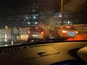 Wild scenes as 'stolen Audi' causes crash