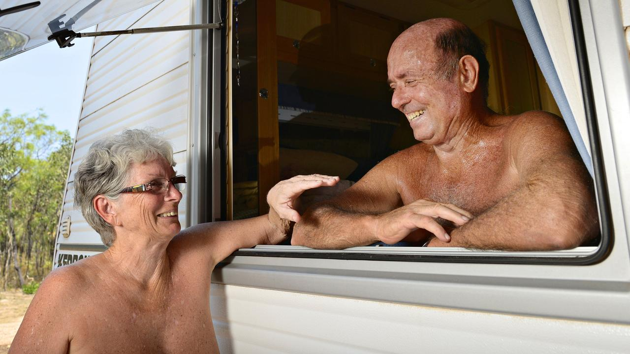 Bruce Jensen and Julie Jarvie after being given permission for the Brujul Nudist Retreat in Noonamah in Darwin's rural area. Would you get your kit off at a Mackay region nudist retreat?