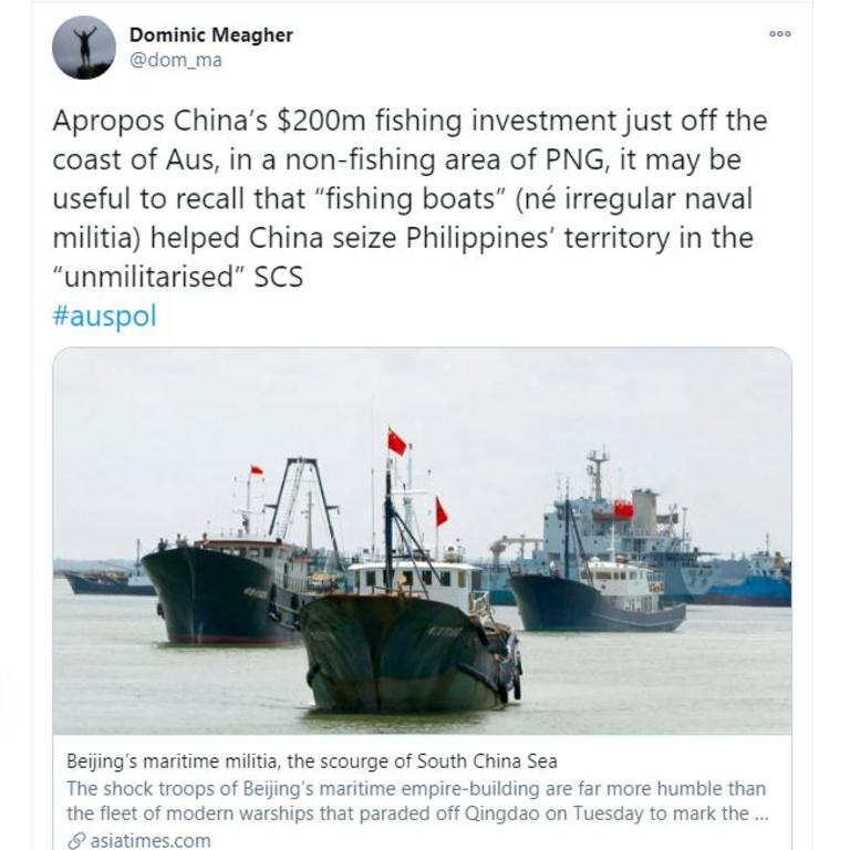 Meagher's tweet is a stark warning about how China's 'fishing' plans can turn out.