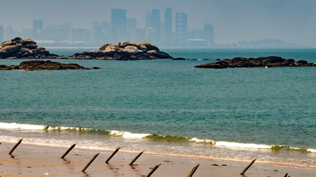 Military installations on Kinmen's beach facing China. Picture: Alberto Buzzola/LightRocket via Getty Images.