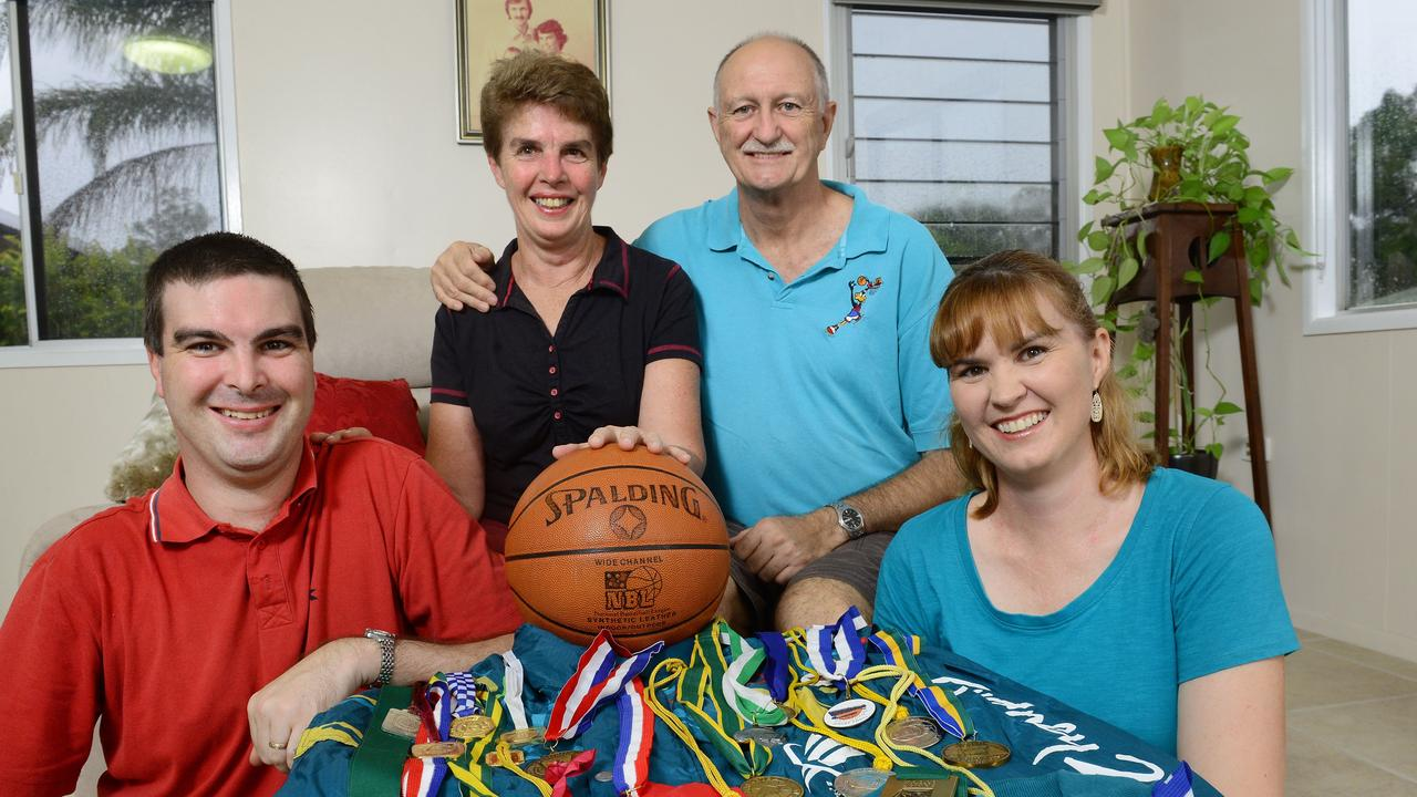 Long-serving Ipswich basketball official Alan Basford with his wife Kaye, son Jay and daughter Lee White. Picture: David Nielsen