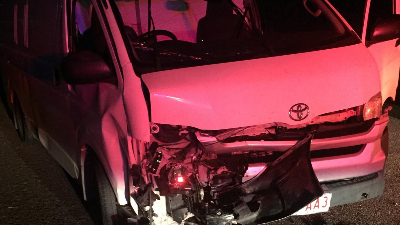 The damage to a van after an owl flew into the open driver's window, causing the motorist to swerve and crash.