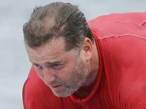 Gnarly dude! Karl Stefanovic hits the surf