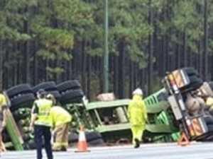 Driver frees himself following truck crash near Tin Can Bay