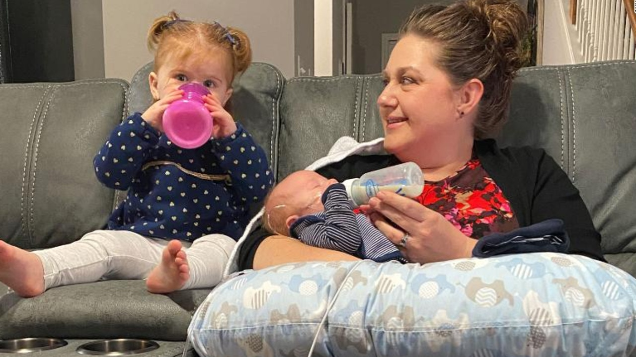 More than $A113,000 has been raised to support Nicole and her two children, Adalyn and baby Michael who has a brain injury. Picture: Nicole Keene
