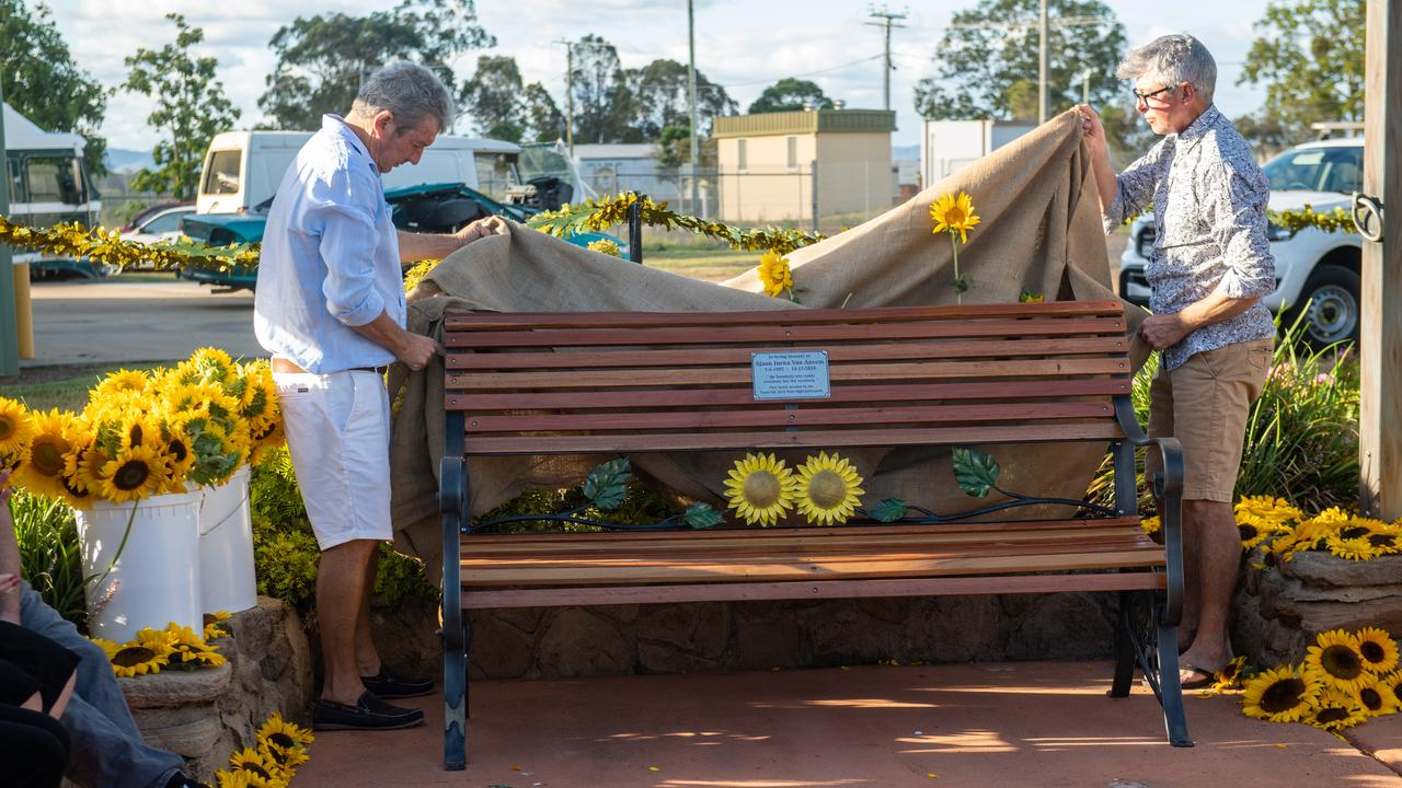 Forest Hill committee members unveiled the chair built in memory of Sjaan Van Ansem. Photo: Pixali Photography.