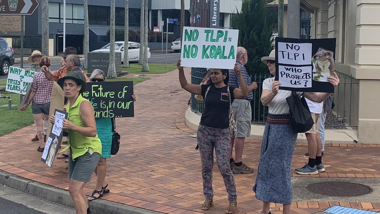 Protestors outside Gympie town hall