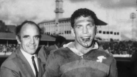 Coach Clive Churchill (left) and captain John Sattler (right) after Souths defeated Manly in 1970 grand final at SCG.